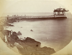 K.H.W. [Karachi Harbour Works], view from outer end of breakwater looking towards shore.